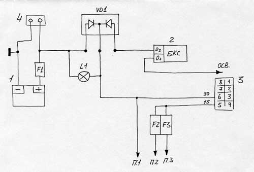 Принцип действия схемы такой: когда АКБ разряжен и напряжение на генераторе выше, то ток от генератора (т.е...